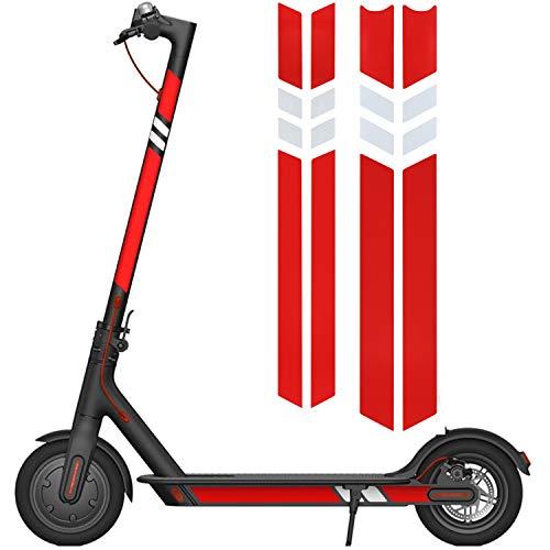 Kyrio Adhesivo reflectante para scooter eléctrico, adhesivo impermeable y de seguridad para Xiaomi Mijia M365 Scooter eléctrico (rojo y plata)