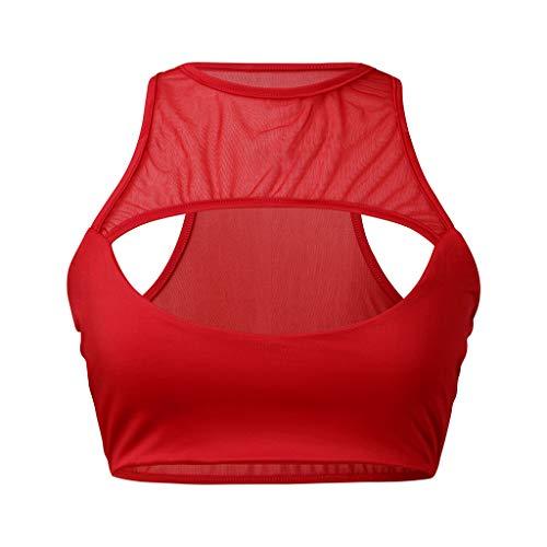 LIMITA Femme Débardeurs Tank Tops Gilets Courts Sexy Soutien-Gorge Creux Licol de Sport d'été de Yoga T-Shirt sans Manches Sport Fitness Hauts 2020 Nouveau Streetwear