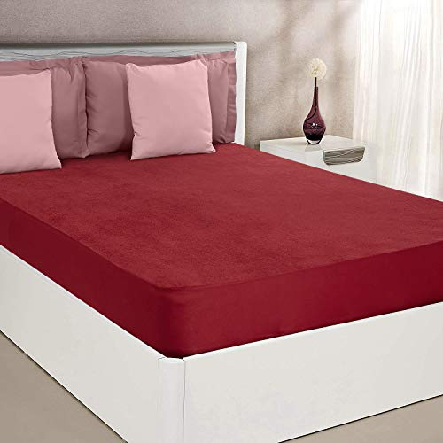 "Amazon Brand - Solimo Water Resistant Cotton Mattress Protector 78""x72"" - King Size, Maroon"