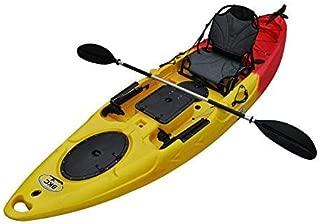 BKC RA220 11.6' Single Fishing Kayak W/Upright Back Support Aluminum Frame Seat, Paddle, Rudder Included Solo Sit-On-Top Angler Kayak