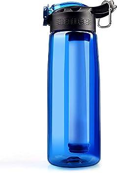 Qunlei Bouteille filtrante, purificateur d'eau d'urgence avec paille filtrante intégrée en 2 étapes pour voyage, camping, randonnée, randonnée, sans BPA, 623,7 g Bleu