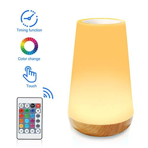 H/L Kleurrijke kleine tafellamp, oogbescherming, koelen, nachtlampje met timering, touch-afstandsbediening en dimfunctie voor studentenhuis, slaapkamer, bureau, nacht