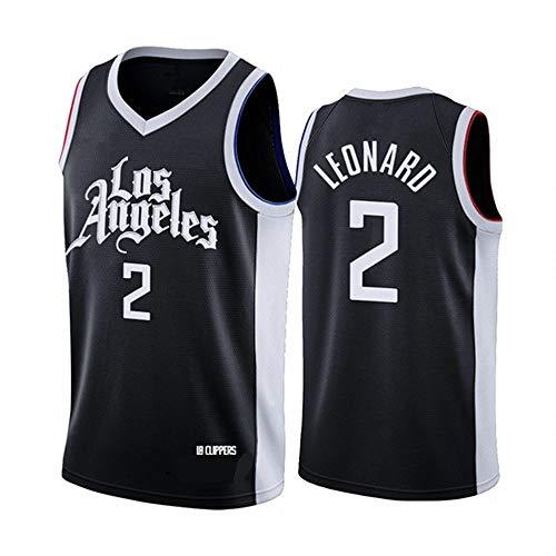 CXJ Jerseys NBA - Clippers di Los Angeles # 2 Kawhi Leonard Pallacanestro da Uomo Jersey da Uomo, Abbigliamento da Basket a Rete Ricamata Abiti da Allenamento Senza Maniche,S(165~170CM/50~65KG)