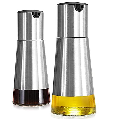 Geroosaty Juego de dispensador de aceite de oliva y vinagre, 2 unidades, dispensador de aceite de oliva con elegante botella de cristal y diseño sin goteo