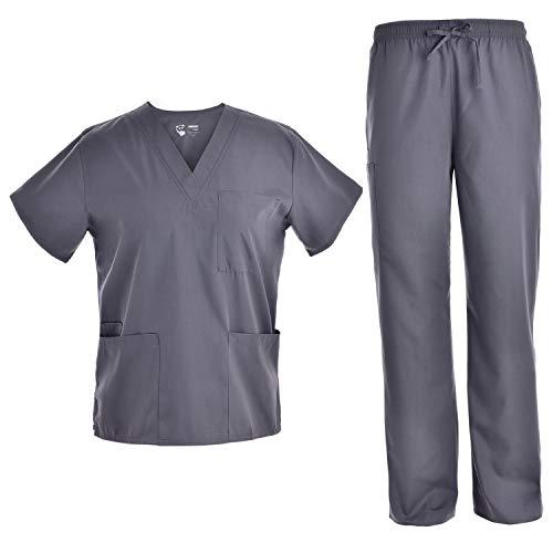 Unisex Nursing Scrubs Set - Medical Uniform Women and Men Nurse School Scrubs Set V Neck Top and Cargo Pants JY1601X Pewter XS