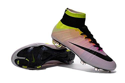 Botas de fútbol para hombre Yurmery Mercurial Superfly FG., piel sintética, Rainbow, 39