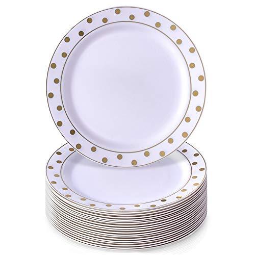 VAJILLA PARA FIESTAS DESECHABLE DE 20 PIEZAS | 20 platos de ensalada | Platos de plástico resistente | Elegante...