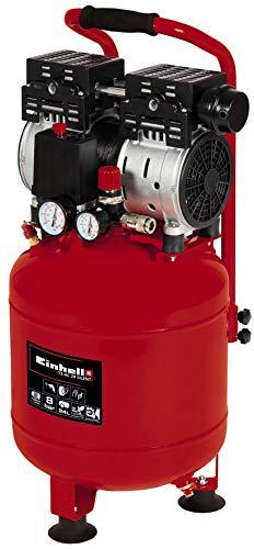 Einhell TE-AC 24 Silent Compressor, 750 W, max. 8 bar, 135 l/min aanzuigvermogen, olie- en servicevrije motor, tank van 24 liter, manometer en snelkoppeling, veiligheidsventiel, rood/zwart