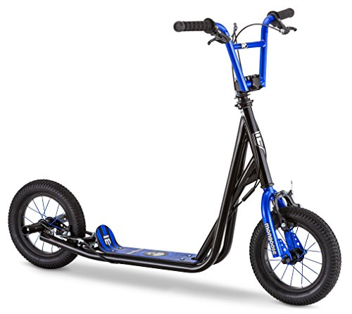 Mongoose Expo Youth Scooter, Front and Rear Caliper Brakes, Rear Axle Pegs, 12-Inch Inflatable Wheels, Black/Blue