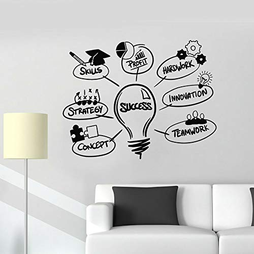 Stickers muraux succès Lampe compétences Innovation équipe Travail Bureau décoration Vinyle fenêtre Autocollants Inspiration Murale,CJX13506-55x71cm