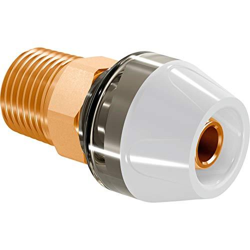Uponor Raccordo maschio 16-R1/2MT, concetto di strumento incorporato, indicatore visivo e sonoro di giunzione, codice colore per dimensione, colore bianco (riferimento 1048566) Standard