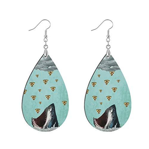 Modische Ohrringe aus Holz, Tropfenform, baumelnde Ohrringe, Pizza-Hai-Druck, Tropfenform, runder Kreis, Ohrringe für Frauen und Mädchen (1 Paar)