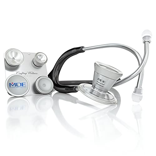 MDF ProCardial C3 Cardiology Lightweight Titanium Dual Head Stethoscope with Adult, Pediatric, and Infant-Neonatal Convertible Chestpiece - Black (MDF797CC11T)