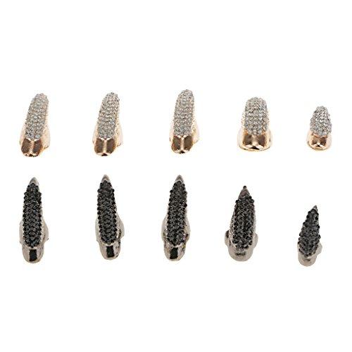 Sharplace Anillo de Dedo Forma Garra de Águila Uñas de Diamante de Imitación Brillante - 10 Piezas