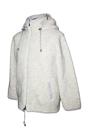 Karbaro Jacke aus Schafwolle mit Kapuze Lichtgrau (XL)
