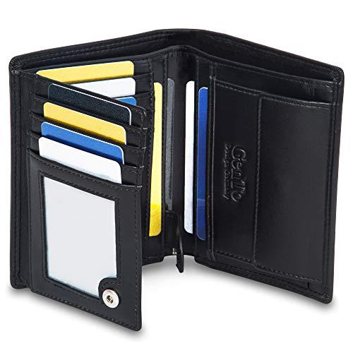 GenTo® Dublin Herren Geldbörse mit Münzfach - TÜV geprüfter RFID, NFC Schutz - geräumiges Portemonnaie - Geldbeutel für Männer - Portmonaise inkl. Geschenkbox (Schwarz - Glatt)