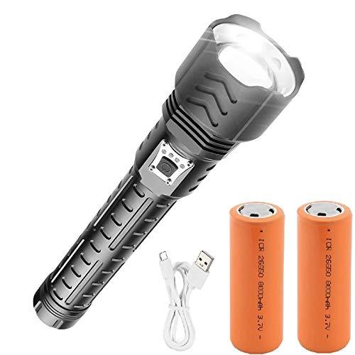 WINDFIRE Torcia LED Ricaricabili, XHP90 - Torcia LED Potente Professionale con 5 Modalità Illuminazione, Zoomable, Funzione Banca Potere, 26650 Batteria per Pesca Campeggio All aperto