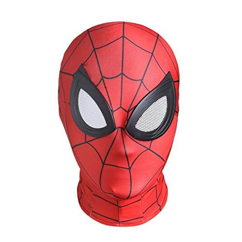MODRYER Spiderman Maschera Ps4 Costume Prop Supereroe Casco Halloween Copricapo Movie Party Cosplay Accessori Vestito Operato Vestito per Adulti Ragazzi,Red-Kids