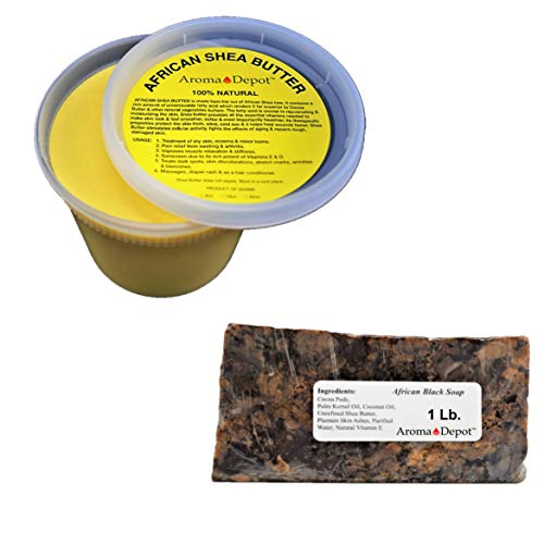 Raw African Shea Butter 1 lb / 16 oz Each Yellow/Gold & Black Soap BAR Grade A Pure Natural Unrefined Fresh Moisturizing, Ideal for Dry and Cracked Skin. Can be use in Body, Hair and Face