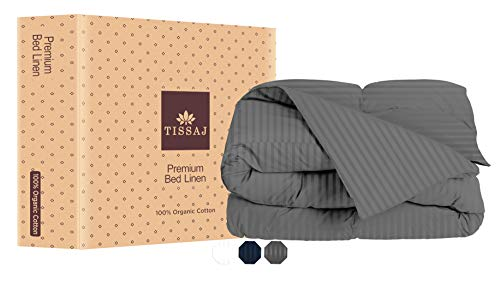 Twin Duvet Covers - Twin & Twin XL Size - Damask Stripes Smoke Gray - 100% Organic Cotton - GOTS Certified - 300 TC Thread Count Sateen Weave - for Down / Alternative Comforter, Weighted Blanket