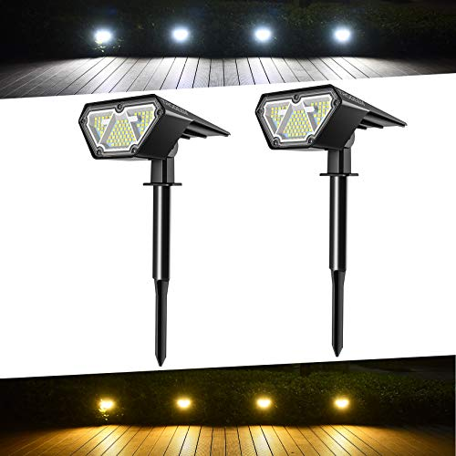 TRODEEM 70 LEDs Solar Landscape Spotlights, 4 Modes Cold & Warm White Dimmable Solar Outdoor Spot Lights IP67 Waterproof Solar Landscape Lights for Yard Garden Driveway Porch Walkway Pool Patio 2 Pack