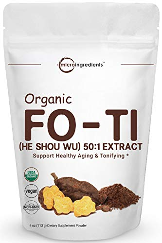 Maximum Strength Organic Fo Ti 50:1 Extract Powder (He Shou Wu), 4 Ounce, Pure Foti Supplement, Traditional Anti Aging Herb, Powerfully Promotes Hair Health and Antioxidant, No GMOs and Vegan Friendly