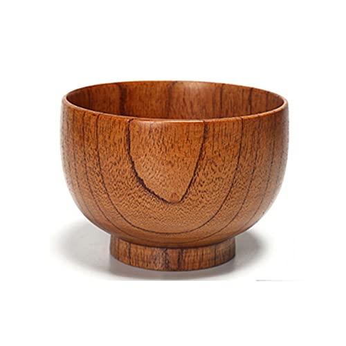 Cuenco redondo de madera maciza Postre de madera Ensalada Pasta Sopa Alimentos Cuencos de arroz integral Utensilios de cocina Cuenco de madera hecho a mano para niños-13