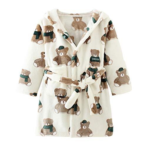 XINNE Unisex Baby Korallen Fleece mit Kapuze Morgenmantel Bademantel Jungen Mädchen Kleinkinder Pyjamas Nachtwäsche