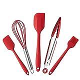 Espátula de silicona, 5 piezas de utensilios de cocina de silicona para hornear, incluye cepillo de...