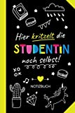 Hier kritzelt die Studentin noch selbst: Notizbuch als Geschenk für eine Studentin - Witzige Studenten Geschenke zum Geburtstag oder Weihnachten