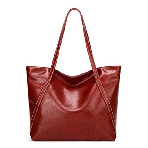 XYAZ Women's all-match PU oil wax leather retro fashion large-capacity one-shoulder diagonal bag handbag,Red wine