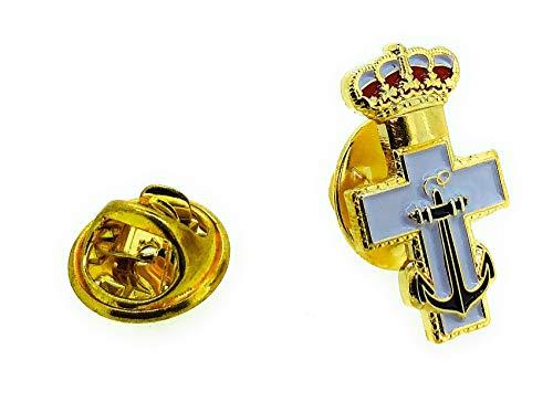 Pin de Solapa de la Medalla de la Cruz de Mérito Naval con Distintivo Blanco | Pines Originales Para Regalar | Para las Camisas, la Ropa o para tu Mochila | Detalles Divertidos