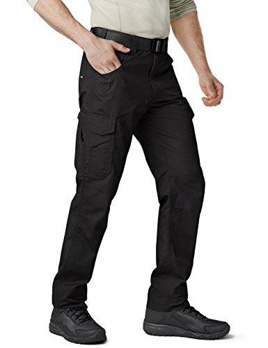 CQR Men's Work Rip-Stop Tactical Utility Operator Pants EDC, Work Cargo(twp302) - Black, 30W x 30L