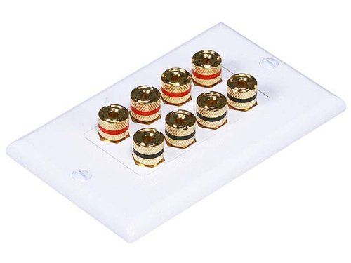 Monoprice 103326 Banana Binding Post Two-Piece Inset Coupler Wall Plate for 4 Speakers
