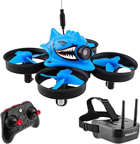 FancyWhoop Armor Blue Shark Micro FPV Racing Drone con 5.8G 40CH 1000TVL Cámara VR006 FPV Gafas 800 * 600 3inch Headset RTF FPV Quadcopter