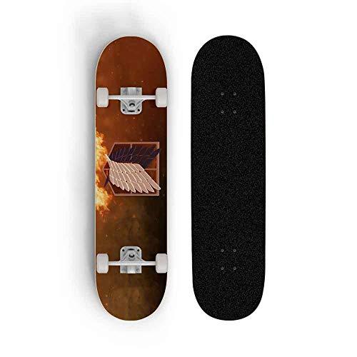 Kssmice Anime Skateboard for Angriff auf Titan, Skateboard Longboards, Skateboards Professional Standard for Anfänger 31 Inches, Maple Concave Deck Cruiser, Tretroller, bester Geburtstag/Weihnachtsg