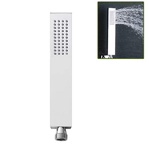 Drenky Messing Handbrause Hochwasserdruck Quadratischer Duschkopf Einzelfunktion Luxus Handbrausekopf Silikon Wasserauslass Chrom Finish