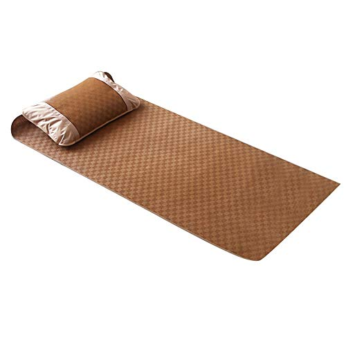 Wifehelper Home Textile Rattan Mat Practical Comfortable Bamboo Bed Sheet Grid Fitted Sheet Set Summer Cool Bed Cover Living Room Bedroom Use(90 * 195cm Pillowcase*1)