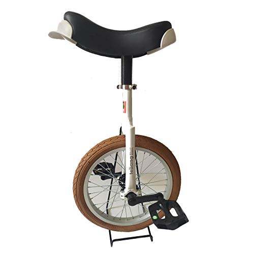 JLXJ Unicycle Bicycle for Unisex Kids, 16 Inch Adjustable Seat One Wheel Bike for Outdoor Fitness, Leakproof Butyl Tire Wheel, Load: 150kg (Color : Brown)