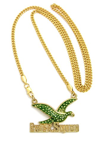 Crescendo SJ INC ICED OUT BRICK SQUAD PENDANT & 24' CUBAN CHAIN HIP HOP NECKLACES - RC2948 (Gold/Green)