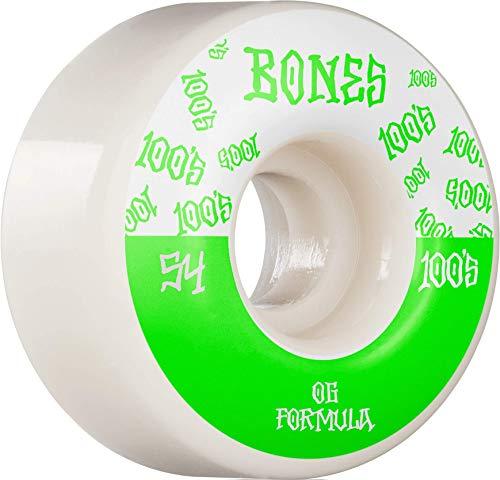 Bones Wheels Skateboardrollen 100's #18 OG Formula V4 Wide 100A 54mm (White Green)