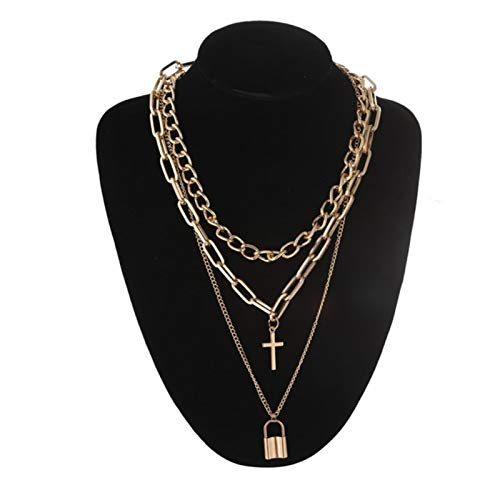Daman Layered Chain Necklace Neck Chains Lock Pendant For Women Punk Choker Padlock Goth Aesthetic Accessories,gold color