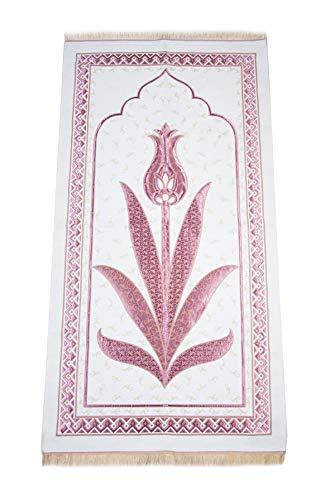 Muslim Prayer Rug with Prayer Beads   Janamaz   Sajjadah   Soft Islamic Prayer Rug   Islamic Gifts   Prayer Carpet Mat, Chenille Fabric, Red