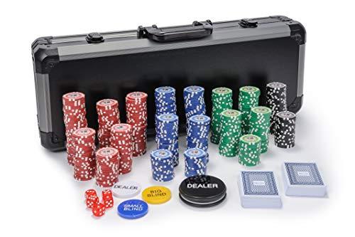 Riverboat Gaming Tournament Set de Poker - fichas de póquer de 500 Piezas en Maleta (Extras Gratis, valores Bajos)