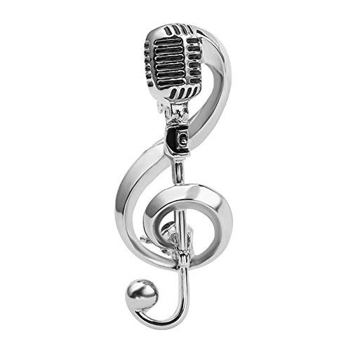 XYW Broche - Micrófono Nota Musical Broche Masculino y Femenino Cantantes Partido Accesorios de Concierto Partido (Color : Silver+Gift Box)