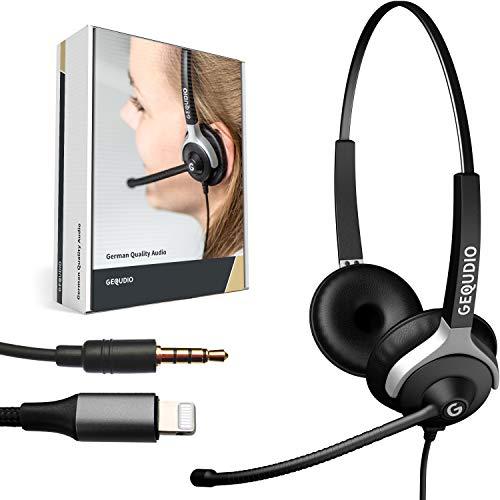 GEQUDIO Headset mit 3,5mm Klinke und Lightning-Adapter kompatibel für iPhone -12-11 -X -XS -8-7 -SE (Pro/Max) mit iOS - Kopfhörer & Mikrofon mit Ersatz Polster - besonders leicht 80g