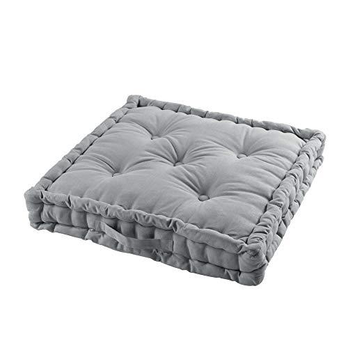 TIENDAEURASIA® Cojines de Suelo - 100% Algodón Lisa - Ideal para sillas, Bancos, palets, Suelos - Uso Interior y Exterior (Gris, 60 x 60 x 10 cm)