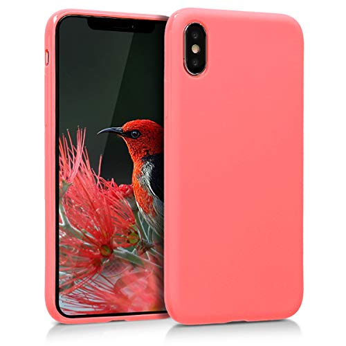 kwmobile Cover Compatibile con Apple iPhone X - Cover Custodia in Silicone TPU - Backcover Protezione Posteriore - Corallo Neon Matt