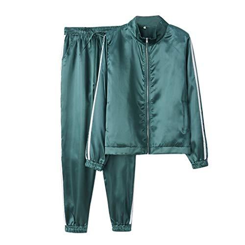 Dtuta Damen Jumpsuit Jogger Jogging Anzug Trainingsanzug Frauen Jogging Anzug Jacke Sport Hose Fitness Mantel Hose Einfarbig, Sportanzug Beiläufig Sportjacke Reißverschluss Kapuzenpullover Hemd Hosen