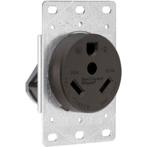 Legrand - Pass & Seymour 3830CC6 Industrial-Strength Flush-Mount Power Outlet for RVs, Dryers & Ranges | Travel Trailer Outlet 30A, 125 Volt, 2-Pole, 3-Wire,Black